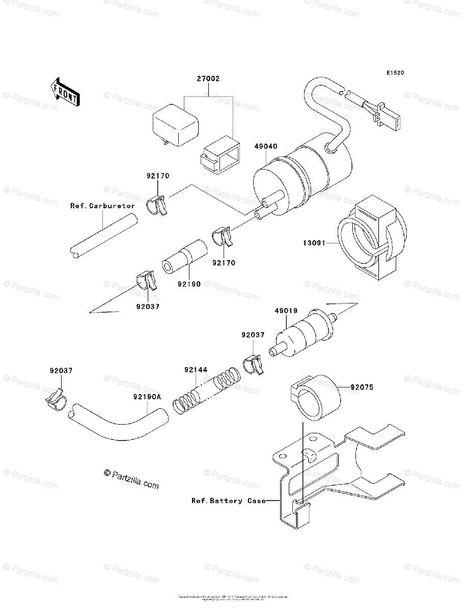 Kawasaki Motorcycle 1998 OEM Parts Diagram for Fuel Pump