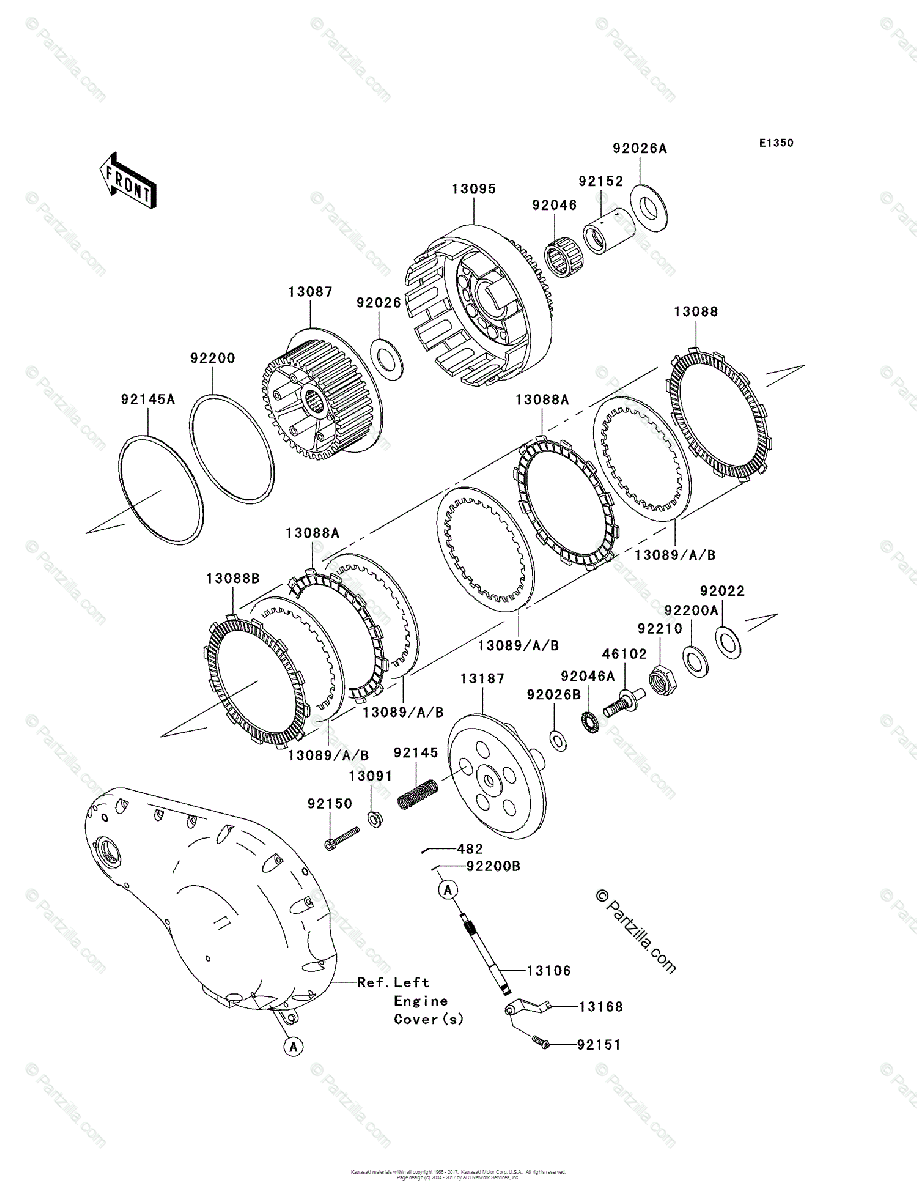 Kawasaki Motorcycle 2004 OEM Parts Diagram for Clutch