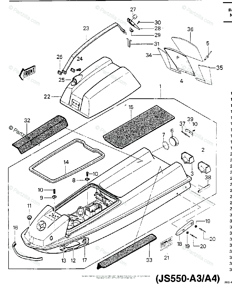 Kawasaki Jet Ski 1985 OEM Parts Diagram for HULL/ENGINE