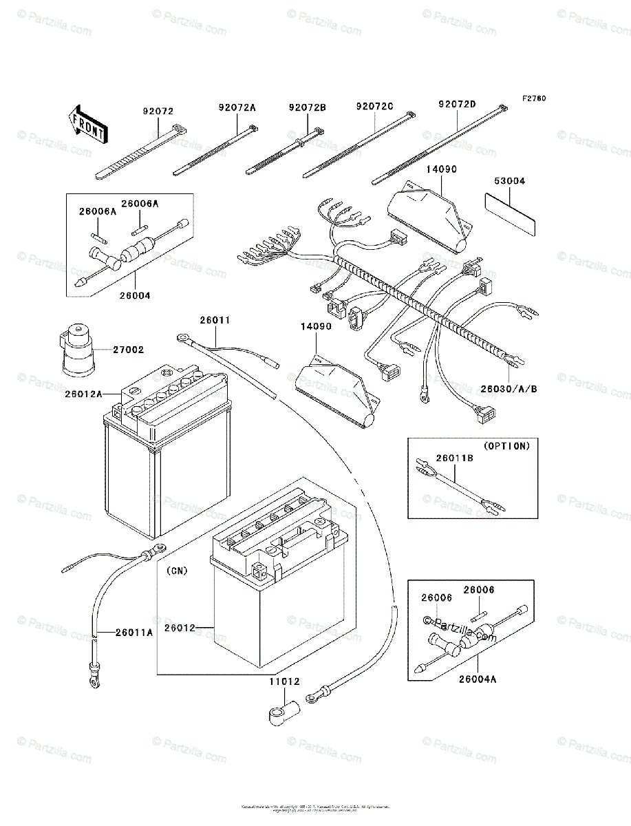 Kawasaki ATV 2000 OEM Parts Diagram for Chassis Electrical