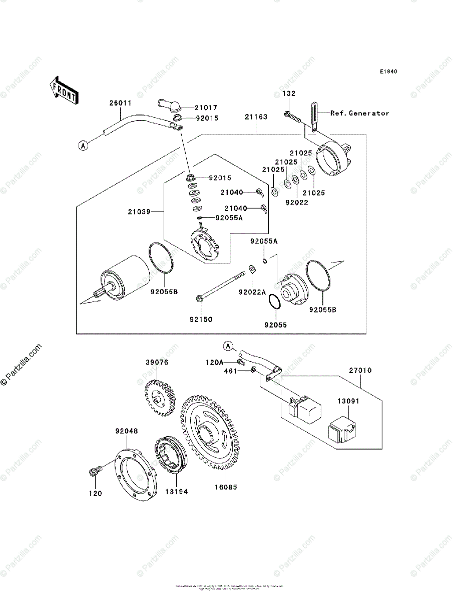 Kawasaki ATV 2004 OEM Parts Diagram for Starter Motor