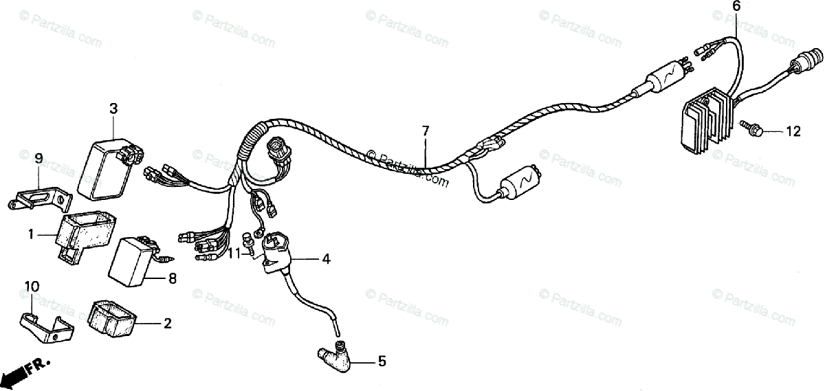 Honda ATV 1998 OEM Parts Diagram for Wire Harness