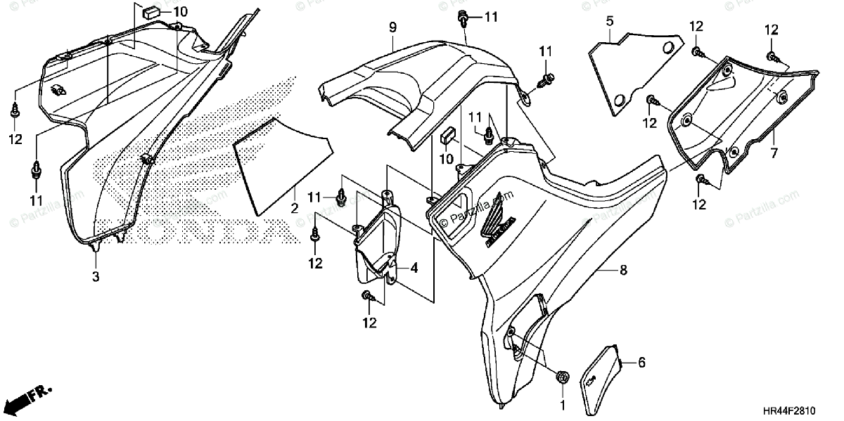 Honda ATV 2015 OEM Parts Diagram for Side Cover / Tank