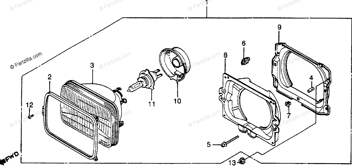 Honda Motorcycle 1984 OEM Parts Diagram for Headlight