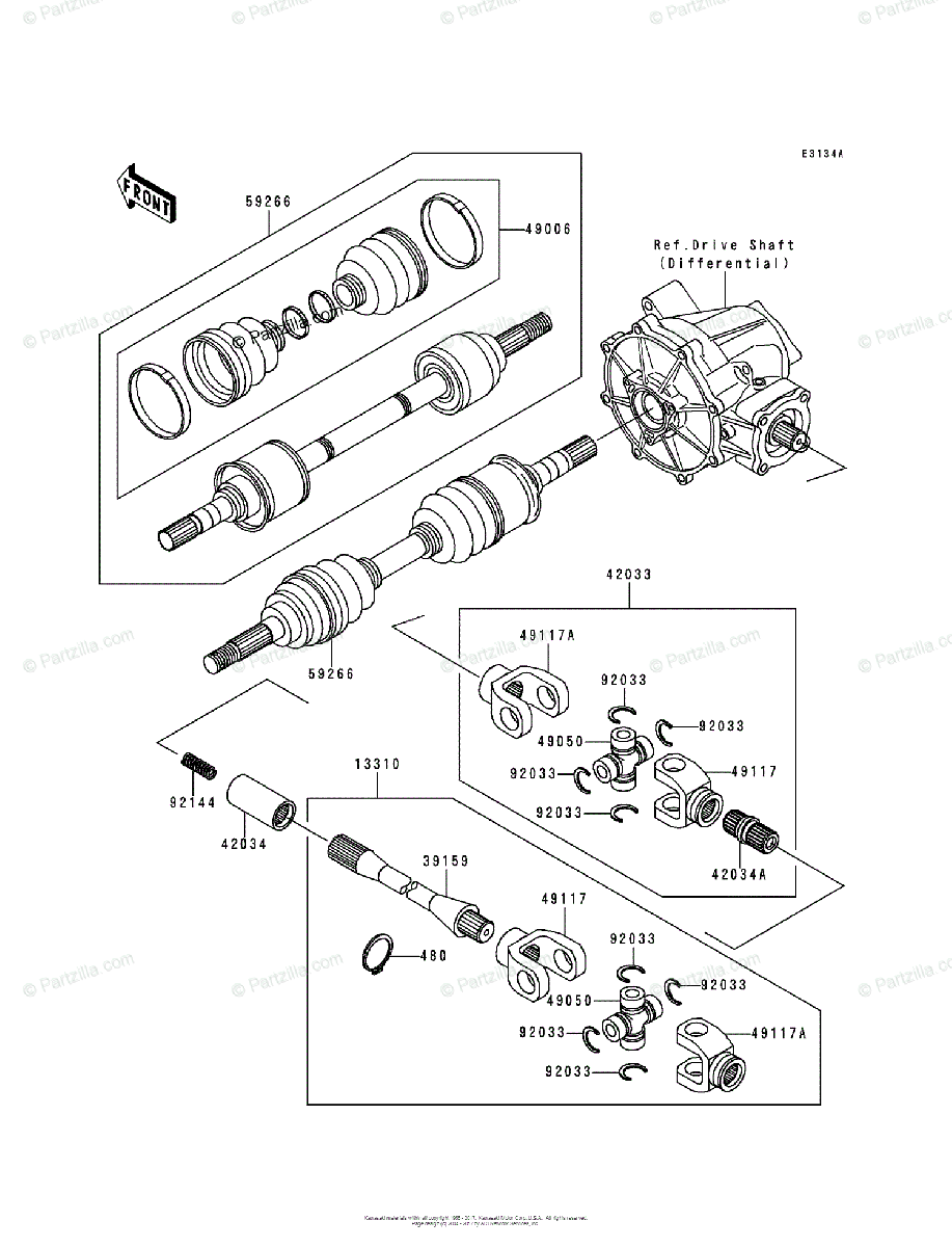 Kawasaki ATV 1992 OEM Parts Diagram for Drive Shaft