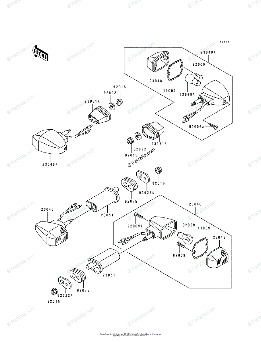 Kawasaki Motorcycle 1993 OEM Parts Diagram for Turn