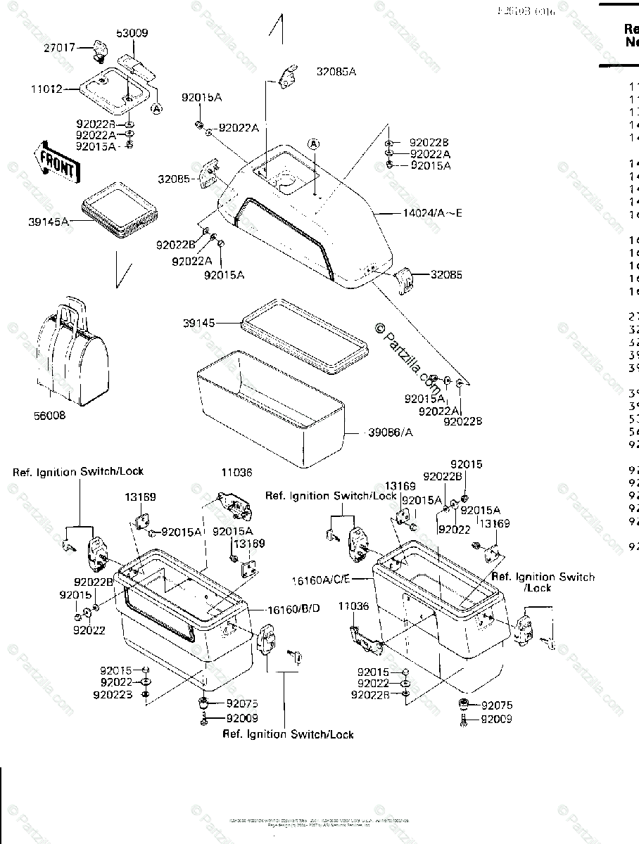 Kawasaki Motorcycle 1986 OEM Parts Diagram for Saddlebags