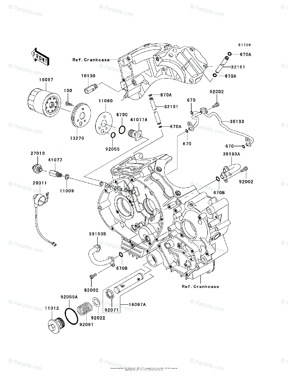 Kawasaki Motorcycle 2006 OEM Parts Diagram for Oil Filter
