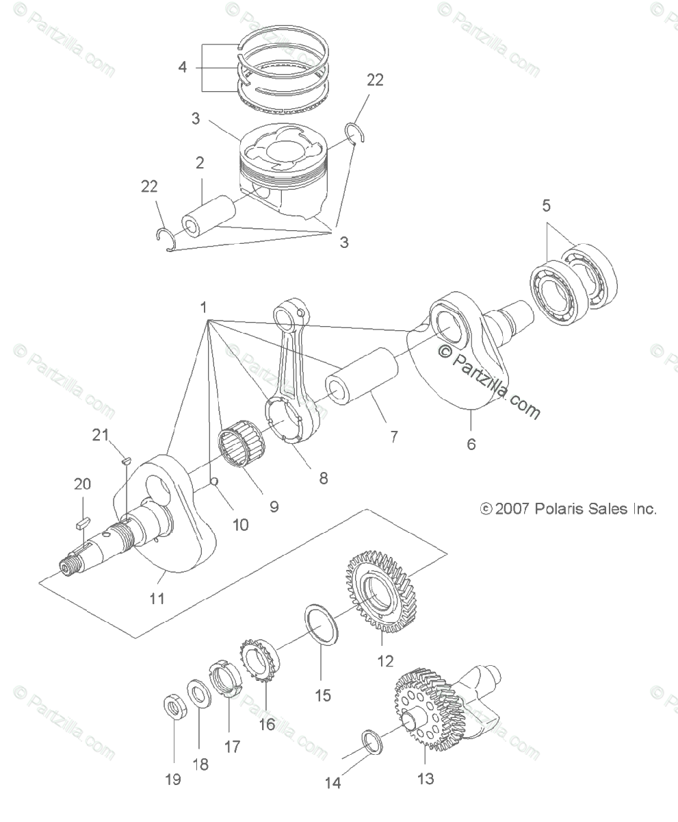Polaris ATV 2013 OEM Parts Diagram for Engine, Crankshaft