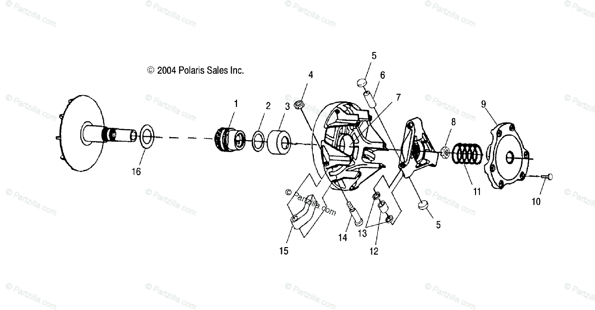 Polaris ATV 2003 OEM Parts Diagram for Drive Clutch /Af/Ag