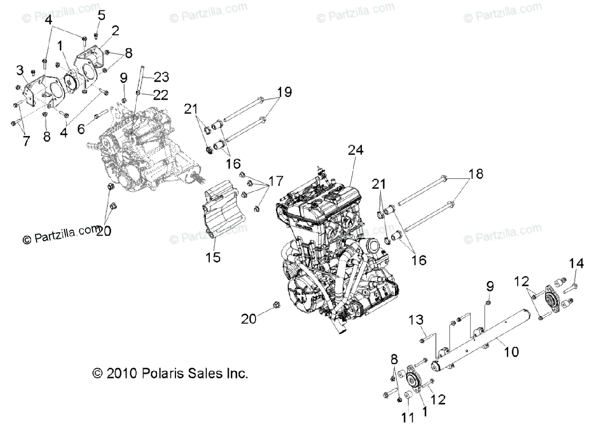 Polaris Side By Side Oem Parts Diagram For Engine Transmission Mounting