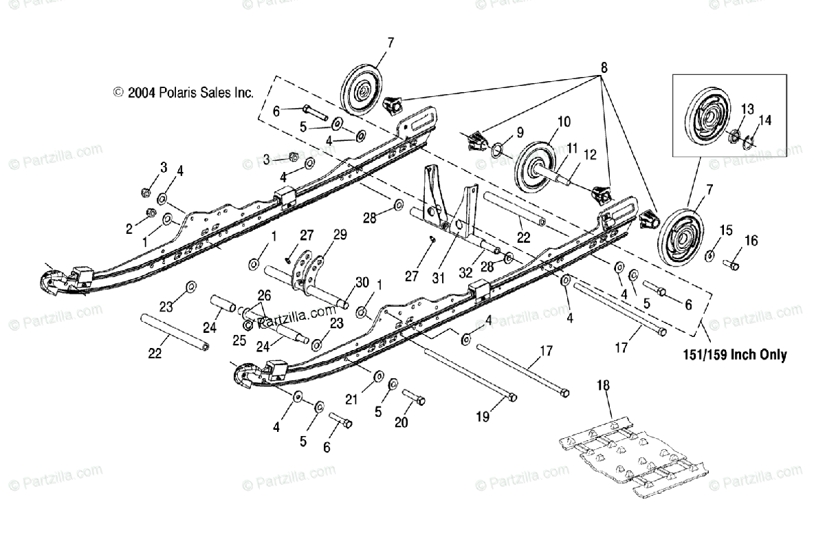Polaris Snowmobile 2005 OEM Parts Diagram for Suspension