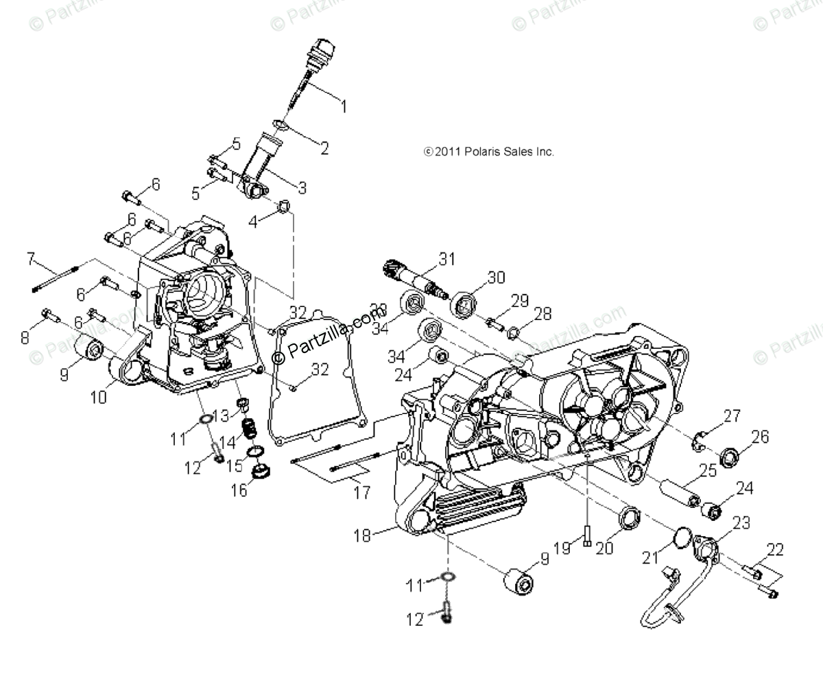 Polaris ATV 2016 OEM Parts Diagram for Engine, Crankcase