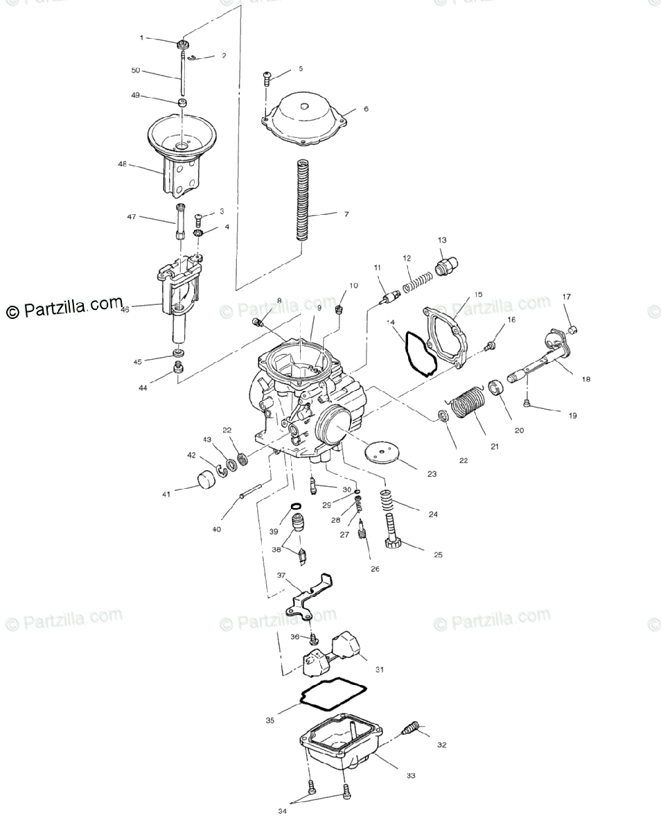Polaris ATV 2004 OEM Parts Diagram for Carburetor
