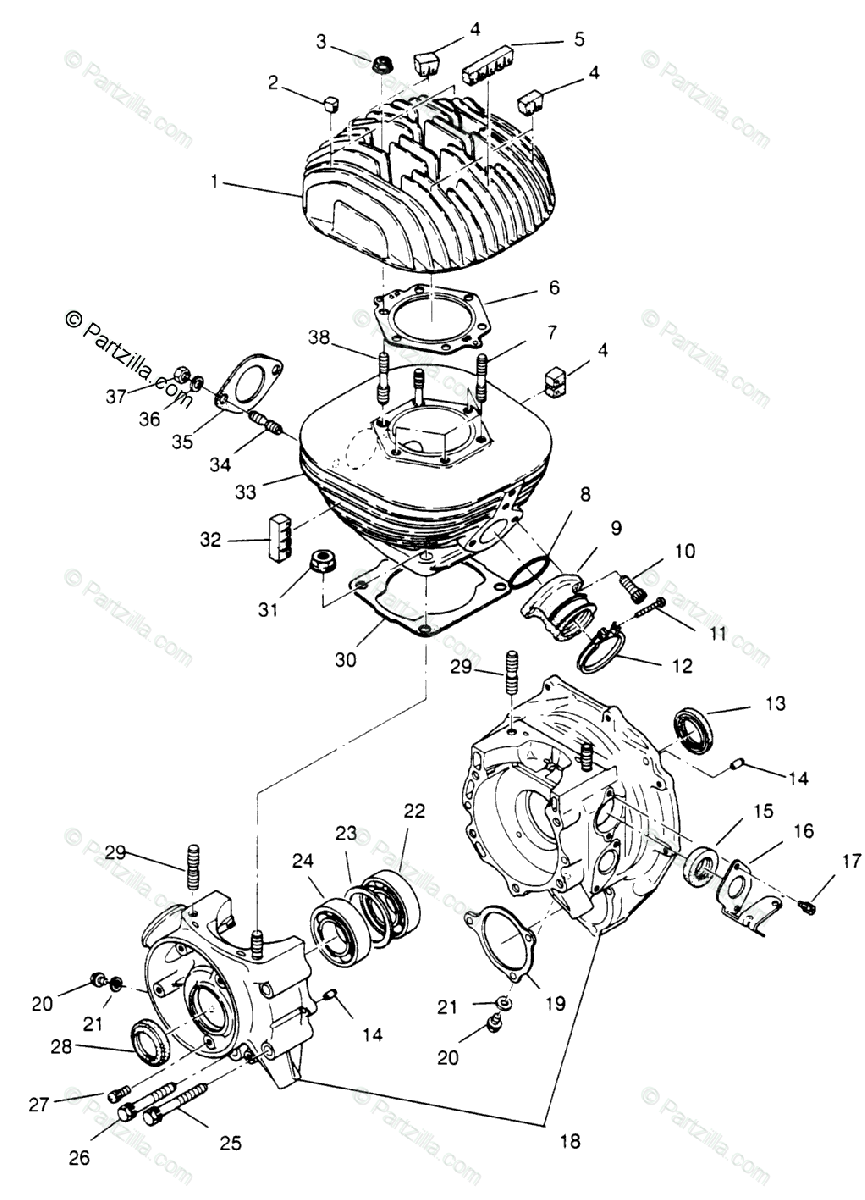Polaris ATV 1996 OEM Parts Diagram for Crankcase