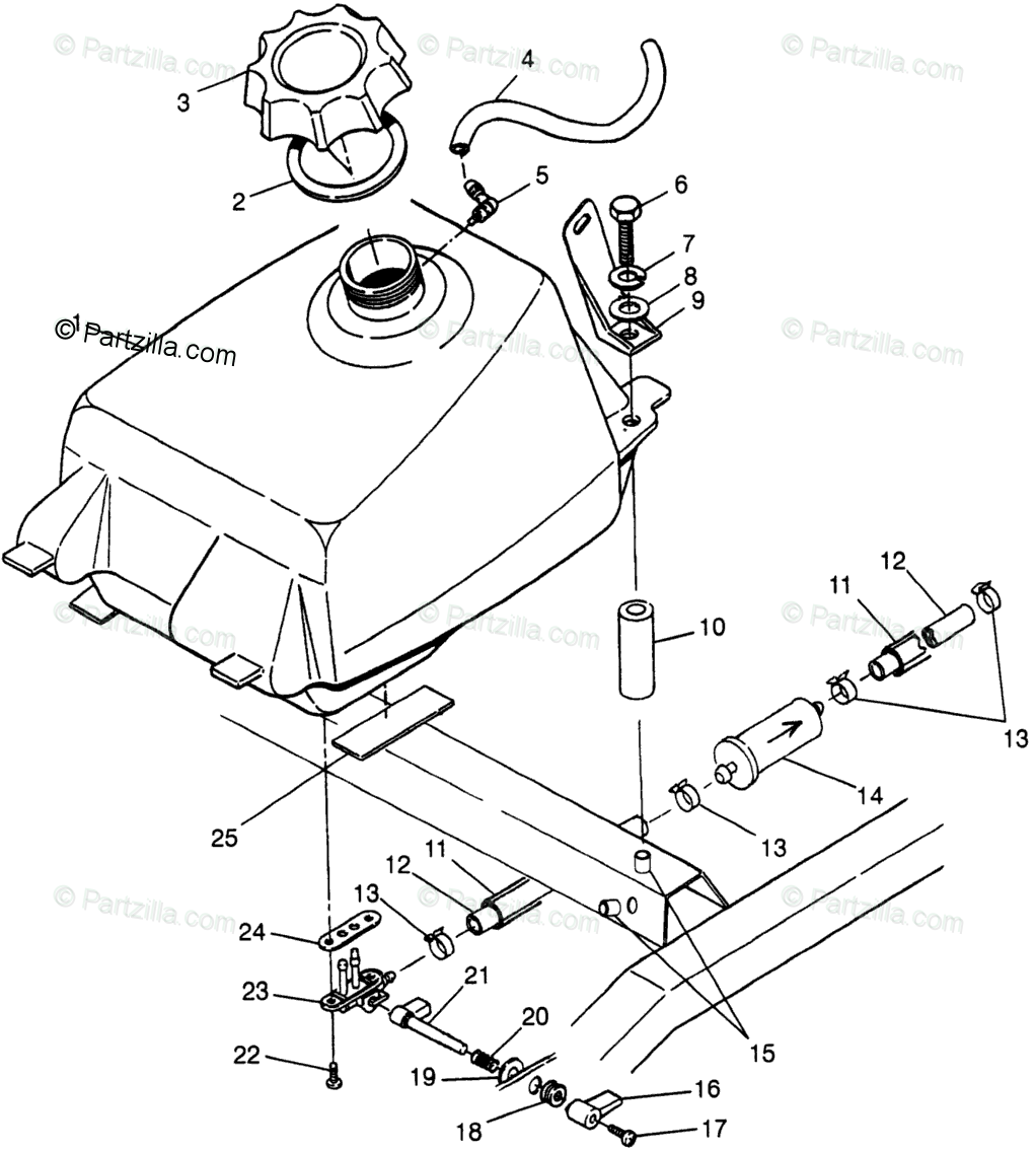 Polaris ATV 1998 OEM Parts Diagram for Fuel Tank