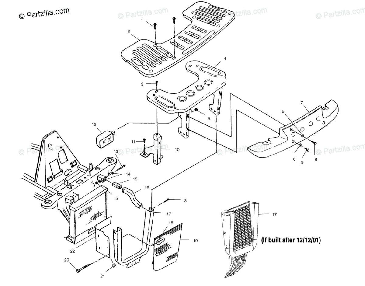 Polaris ATV 2002 OEM Parts Diagram for Front Rack And
