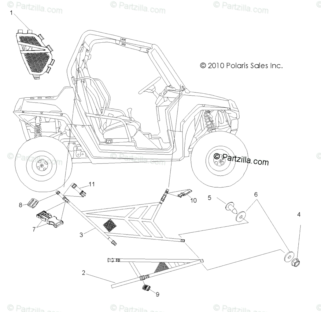 Polaris Side by Side 2009 OEM Parts Diagram for Body, Side