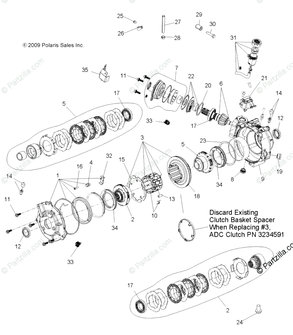 Polaris ATV 2008 OEM Parts Diagram for Drive Train, Front
