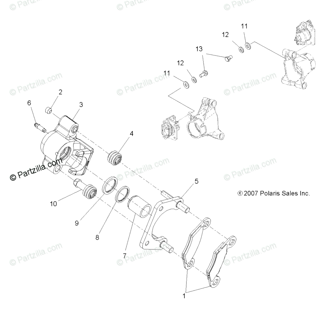 Polaris ATV 2009 OEM Parts Diagram for Brakes, Rear