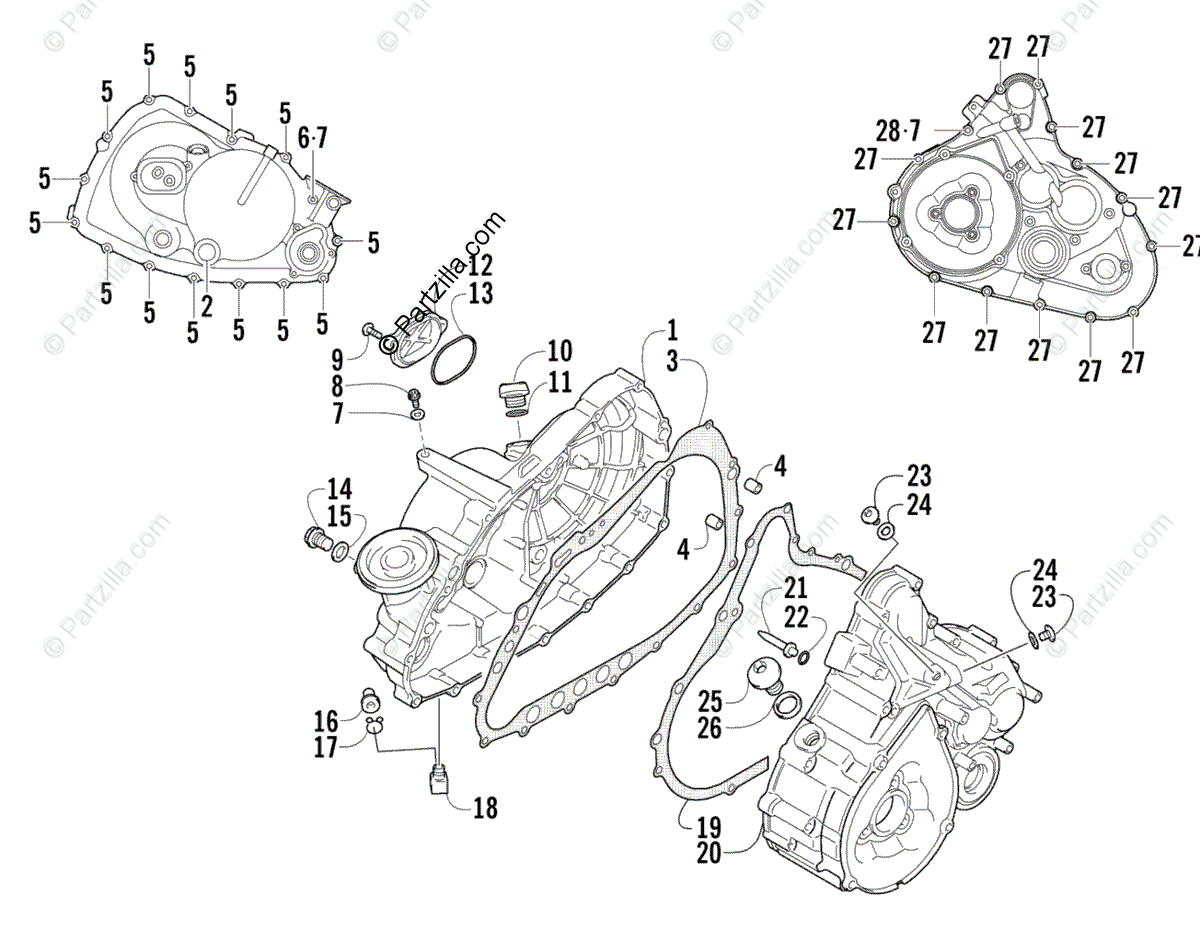 Arctic Cat ATV 2003 OEM Parts Diagram for Crankcase/Cover
