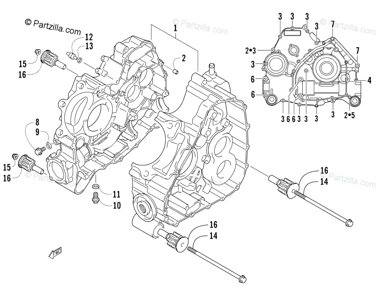 Arctic Cat ATV 2008 OEM Parts Diagram for Crankcase