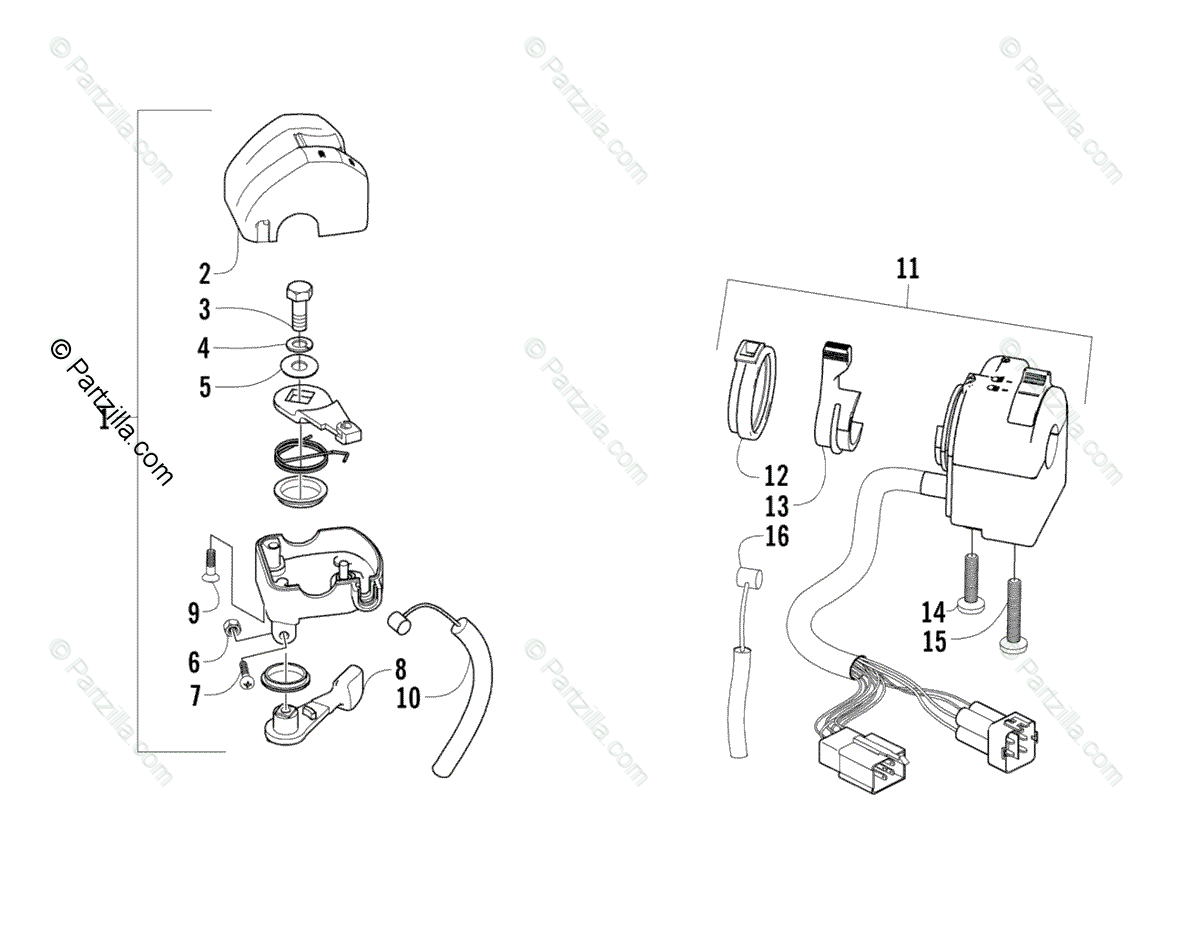 Arctic Cat ATV 2006 OEM Parts Diagram for Throttle Case