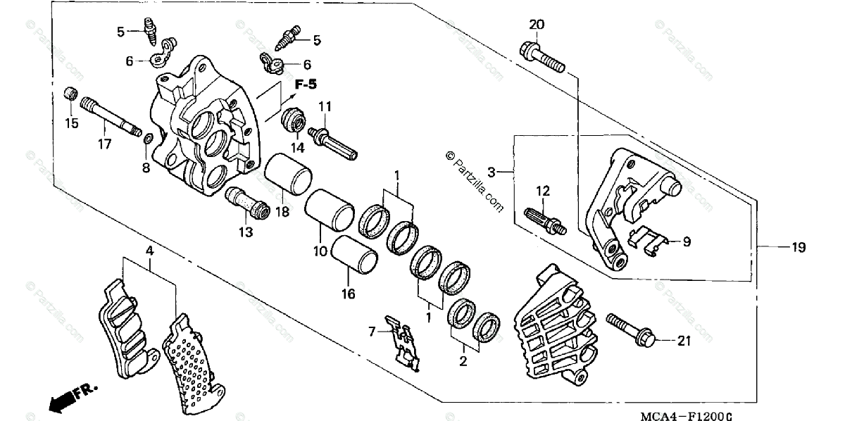 Honda Motorcycle 2004 OEM Parts Diagram for Right Front