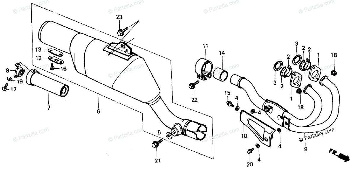 Honda Motorcycle 1985 OEM Parts Diagram for Exhaust