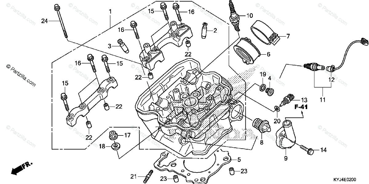 Honda Motorcycle 2011 OEM Parts Diagram for Cylinder Head
