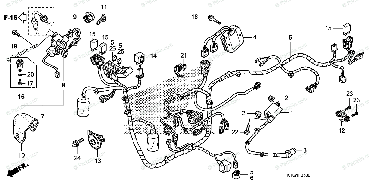 Honda Scooter 2010 OEM Parts Diagram for Wire Harness