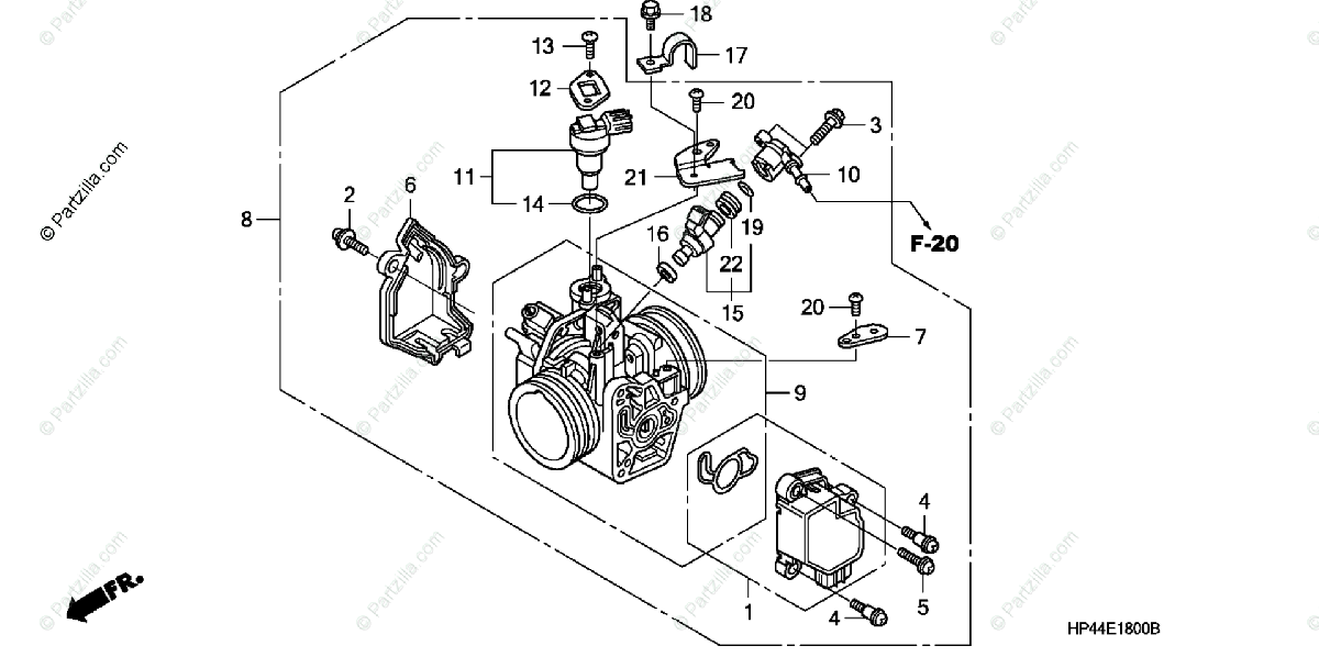 Honda ATV 2007 OEM Parts Diagram for Throttle Body