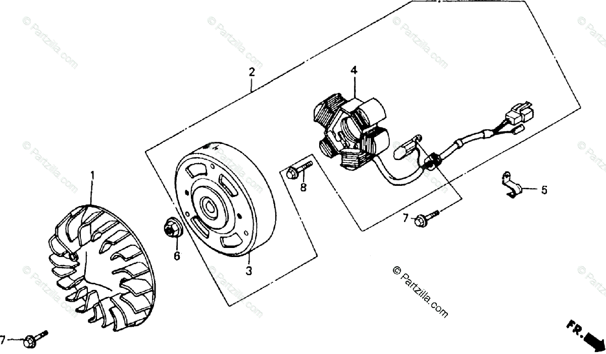 Honda Scooter 1992 OEM Parts Diagram for Alternator