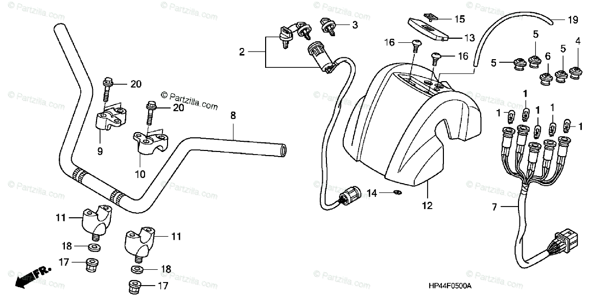 Honda ATV 2007 OEM Parts Diagram for Handlebar (MT