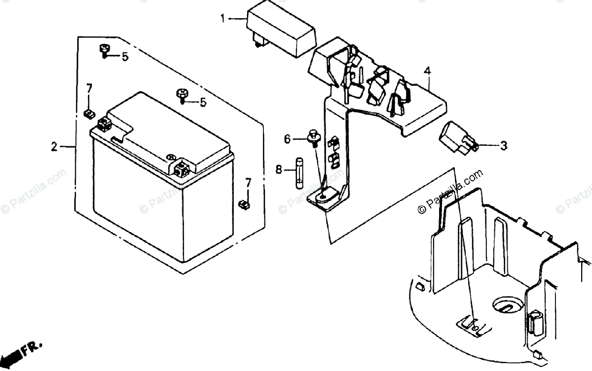 Honda Scooter 1988 OEM Parts Diagram for Battery