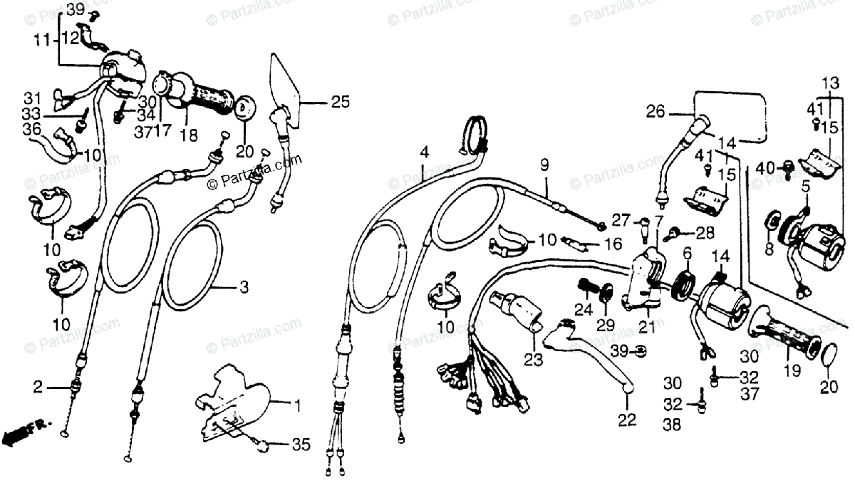 Honda Motorcycle 1986 OEM Parts Diagram for Control Levers
