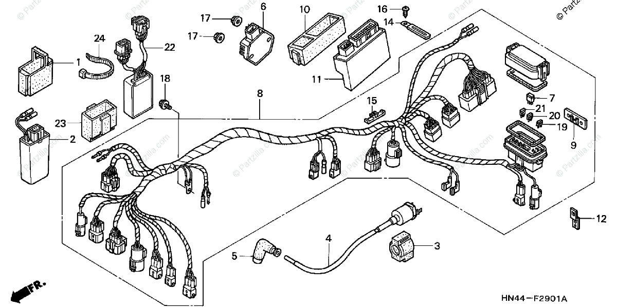 Honda ATV 2001 OEM Parts Diagram for Wire Harness (2