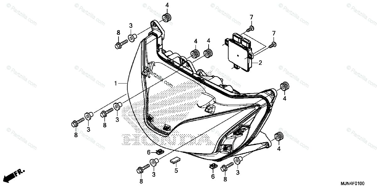 Honda Motorcycle 2014 OEM Parts Diagram for Headlight