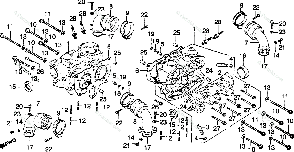 Honda Motorcycle 1981 OEM Parts Diagram for Cylinder Head