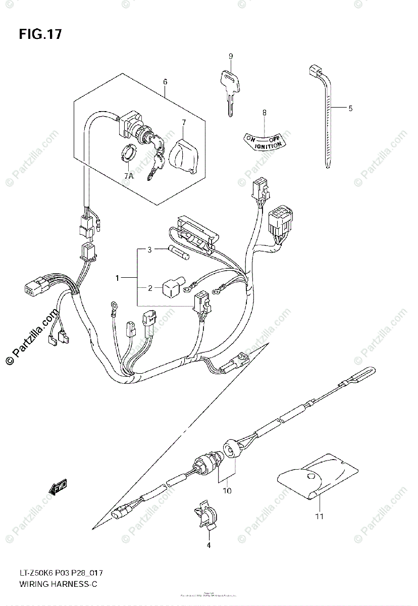 Suzuki ATV 2006 OEM Parts Diagram for WIRING HARNESS
