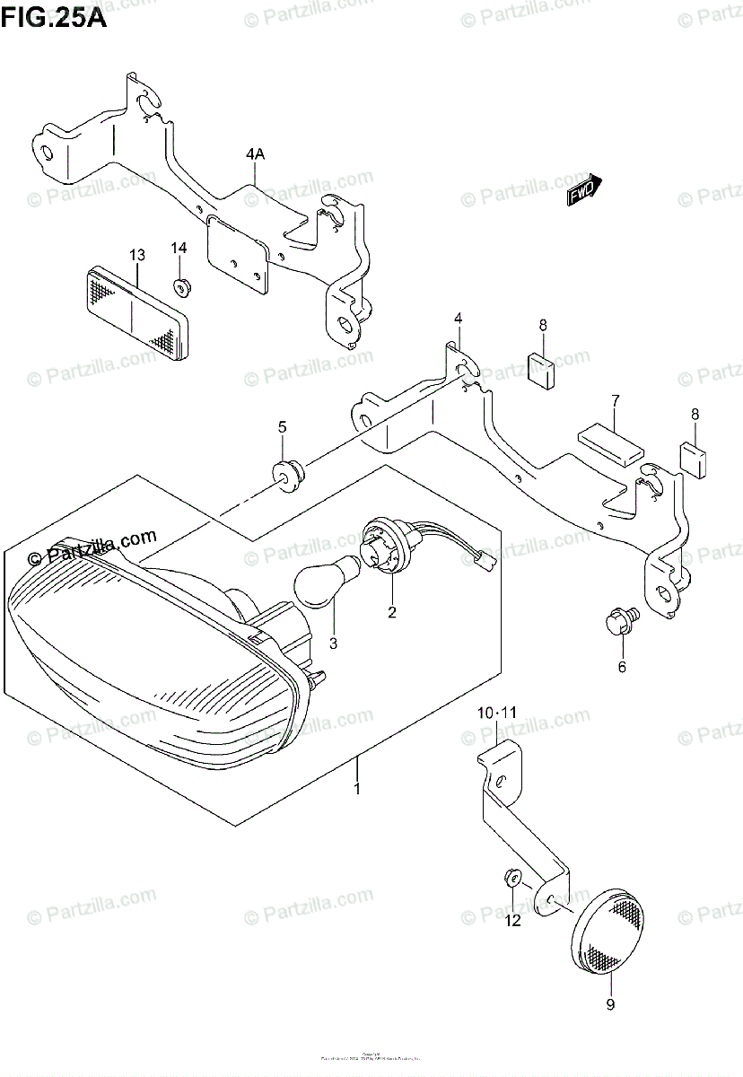 Suzuki ATV 2005 OEM Parts Diagram for REAR COMBINATION