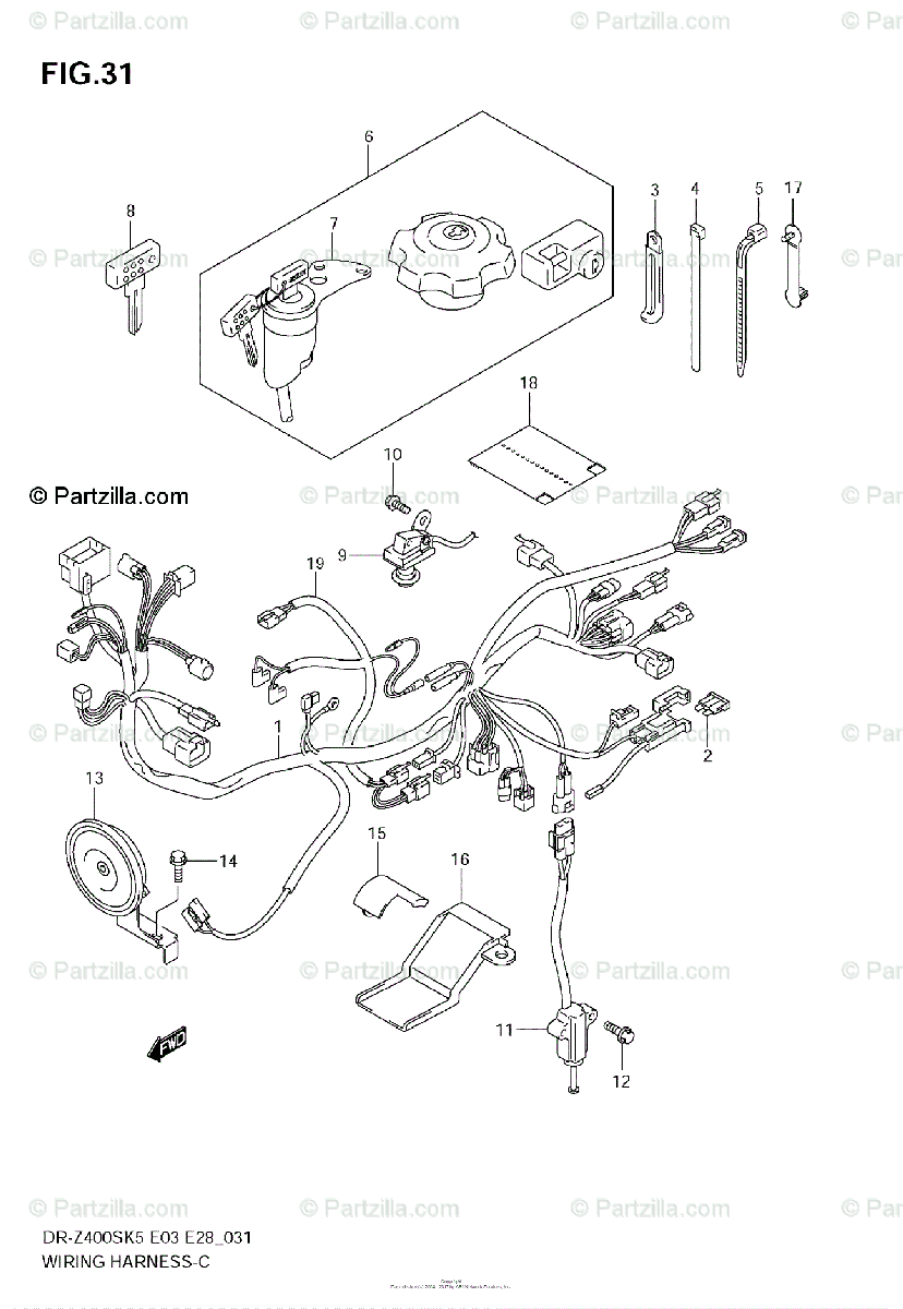 Suzuki Motorcycle 2008 OEM Parts Diagram for WIRING