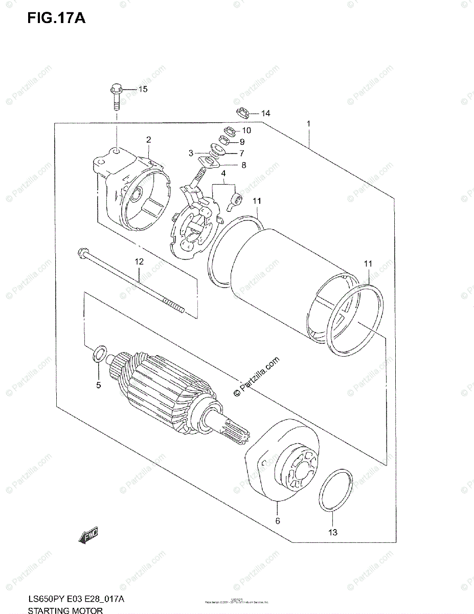 Suzuki Motorcycle 2004 OEM Parts Diagram for STARTING