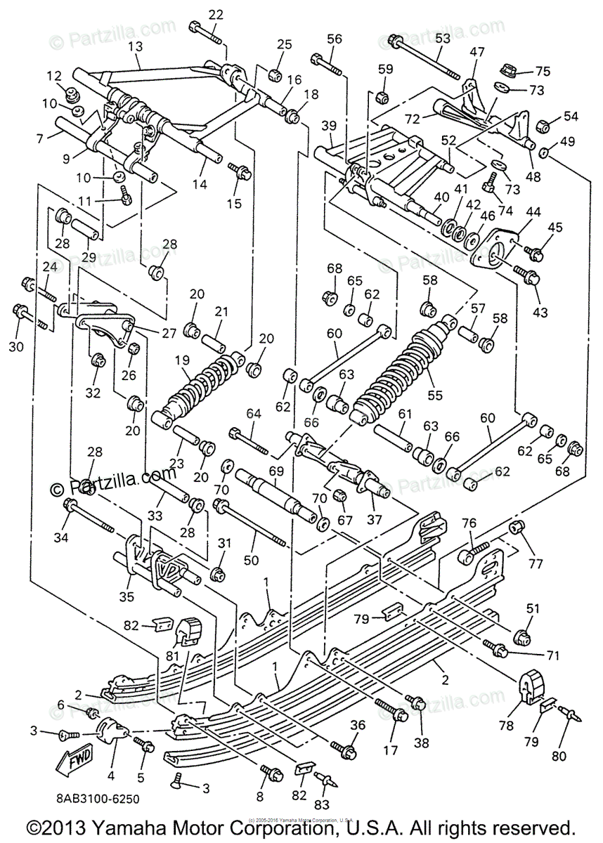 Yamaha Snowmobile 1996 OEM Parts Diagram for Track