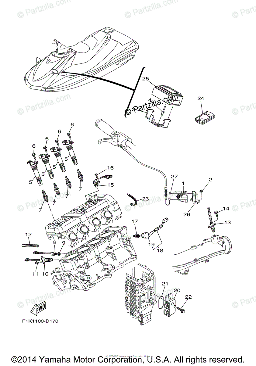 Yamaha Waverunner 2005 OEM Parts Diagram for Electrical