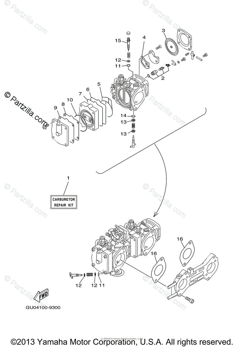 Yamaha Waverunner 2000 OEM Parts Diagram for Repair Kit 2