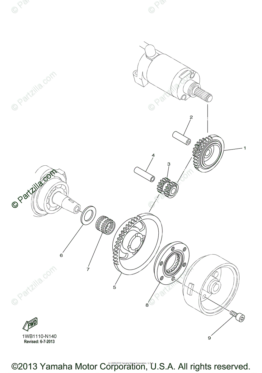 Yamaha ATV 2013 OEM Parts Diagram for Starter Clutch