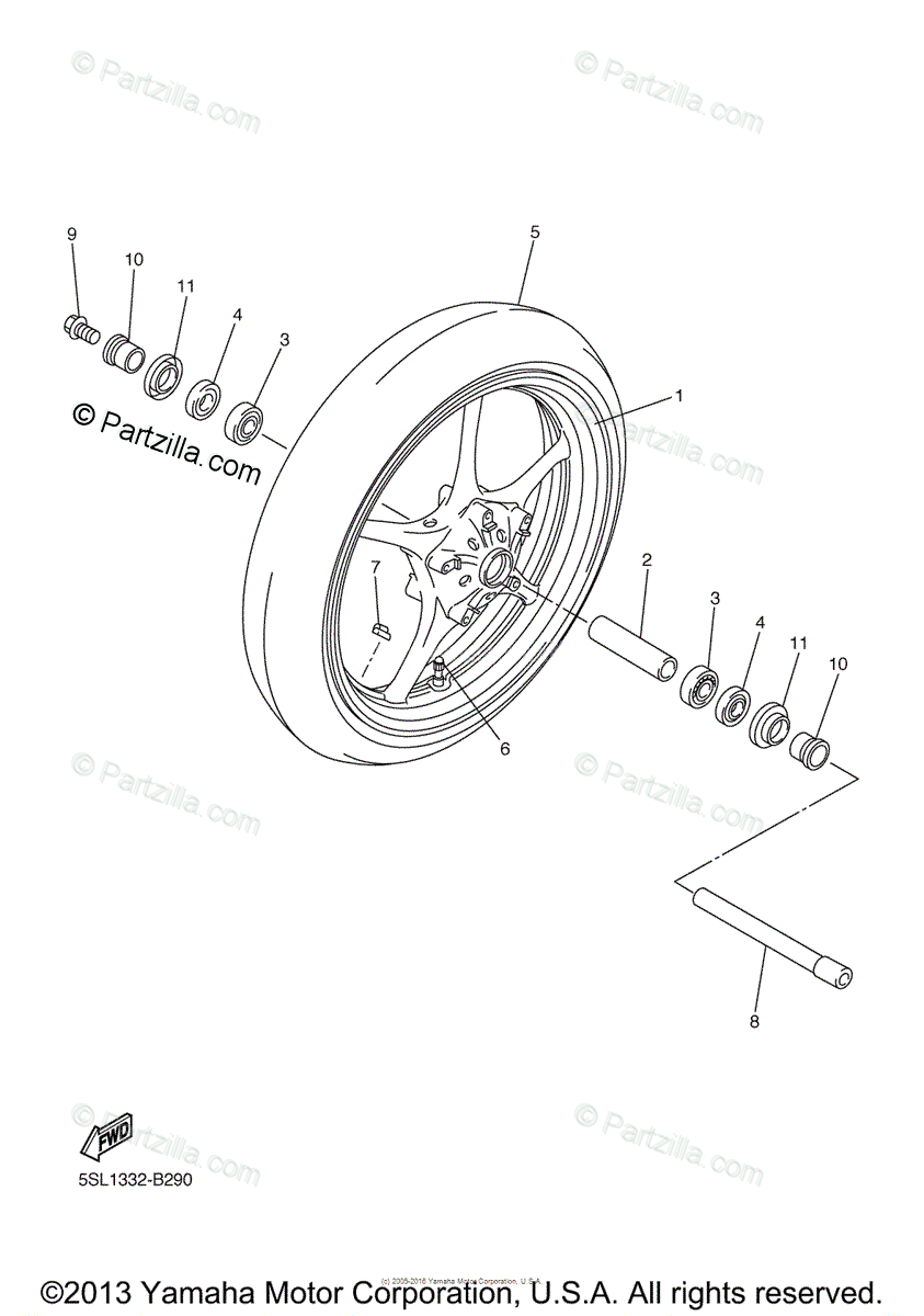 Yamaha Motorcycle 2003 OEM Parts Diagram for Front Wheel