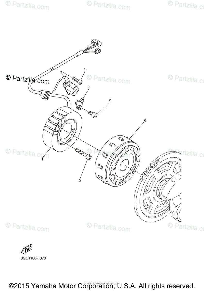 Yamaha Snowmobile 2011 OEM Parts Diagram for GENERATOR