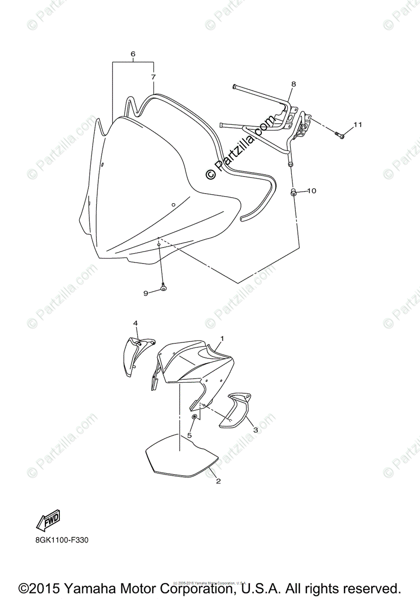 Yamaha Snowmobile 2011 OEM Parts Diagram for Windshield